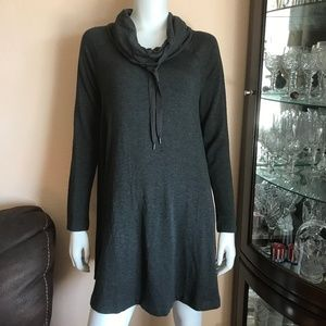 NWT Lou & Grey Cowl Neck Gray Sweater Dress Small